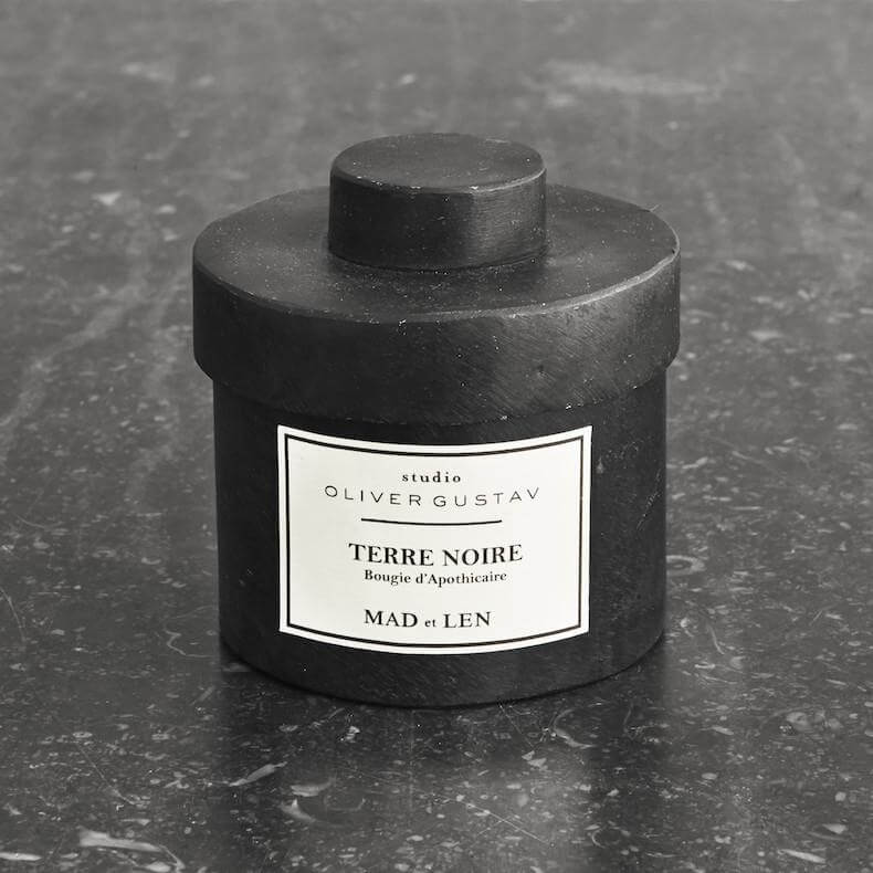 Scented candle in iron jar terre noire from mad et len