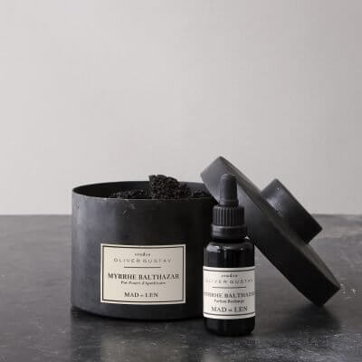 scented potpourri with lava stones and oil refill myrrhe balthazar from mad et len