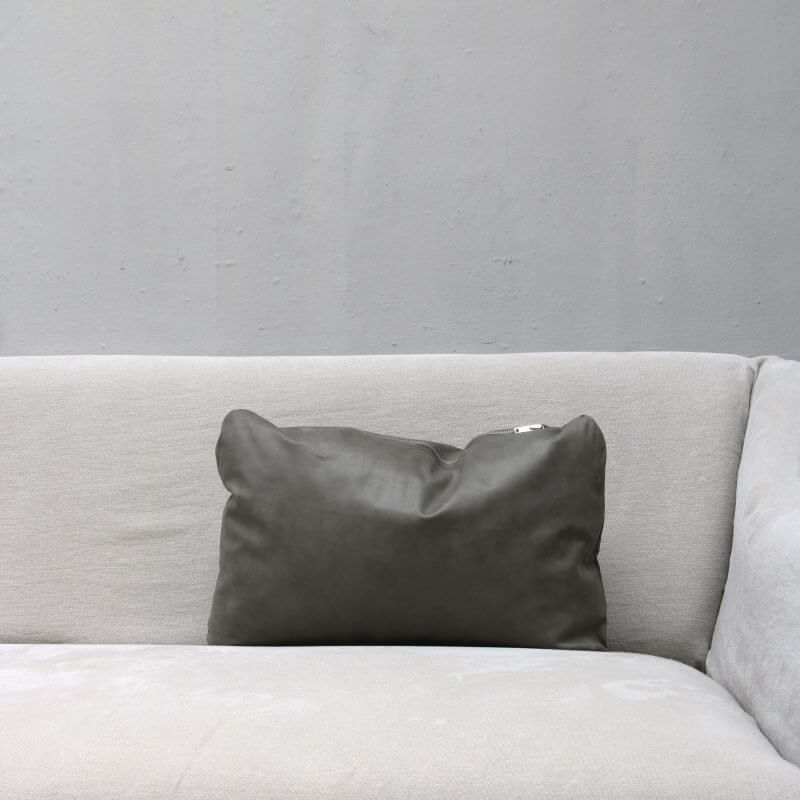 pillow in dark grey leather in small with zipper from Journey by Oliver Gustav