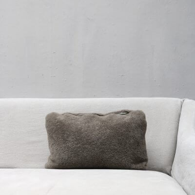 pillow in dark taupe lambskin with zipper from Journey by Oliver Gustav