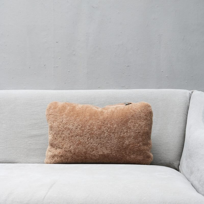 pillow in nude colored lambskin with zipper from Journey by Oliver Gustav