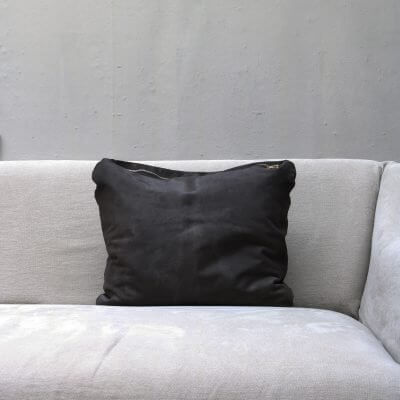 pillow in dark grey calfskin with zipper from Journey by Oliver Gustav