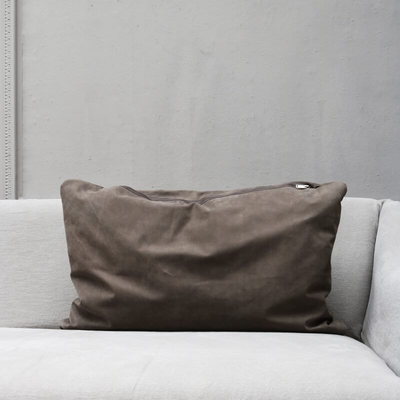 pillow in dark suede in large with zipper from Journey by Oliver Gustav