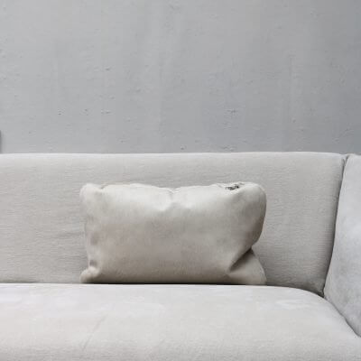 pillow in light grey calfskin with zipper from Journey by Oliver Gustav