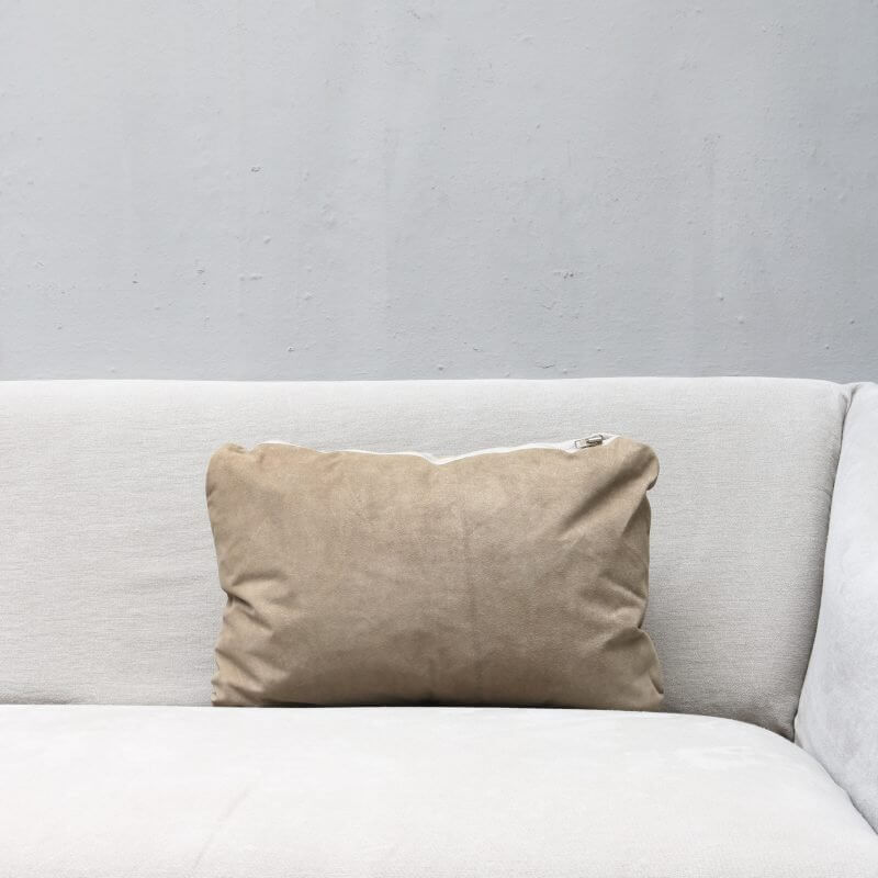 pillow in light suede with zipper in small from Journey by Oliver Gustav