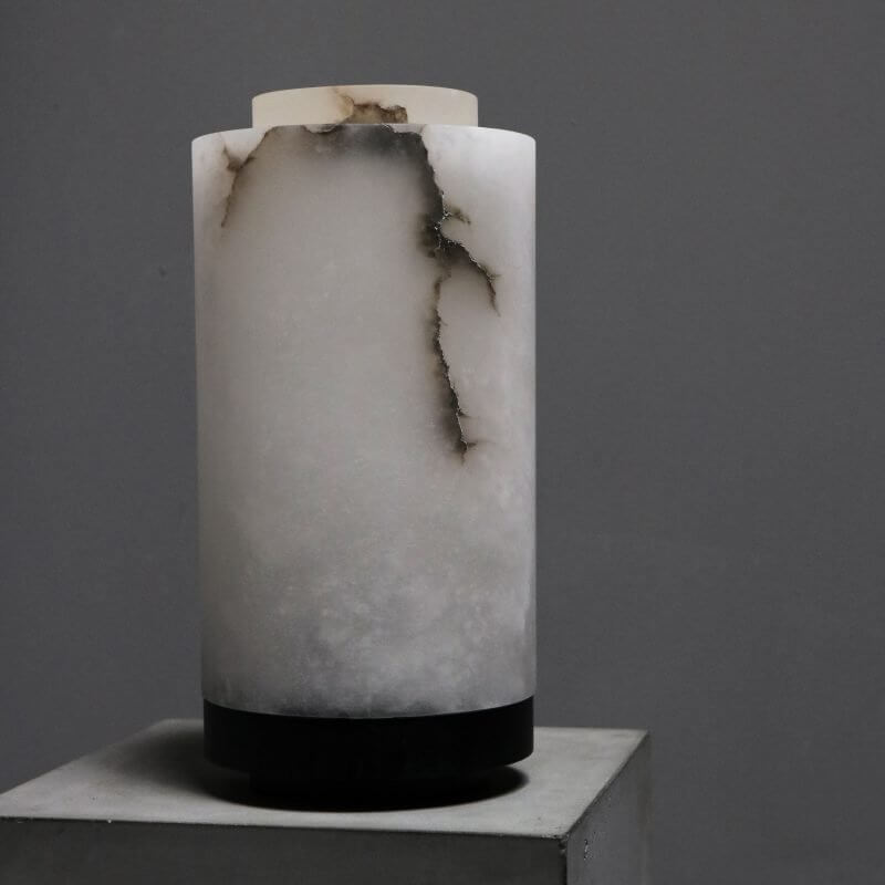 Unique lamp in alabaster marble with wood stand by dutch designer michael verheyden
