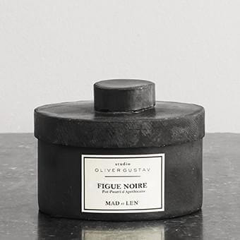 Scented potpourri in iron jar resin stones figue noire from mad et len