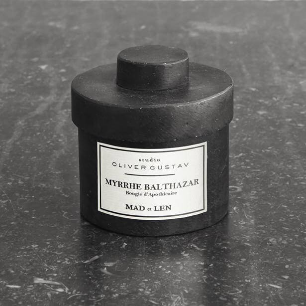 scented candle in iron jar myrrhe balthazar by mad et len