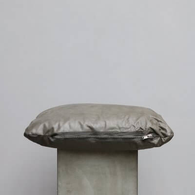 Grey Calf Hide Cushion - Small from Journey by Oliver Gustav. Limited edition high-quality cushions in leather