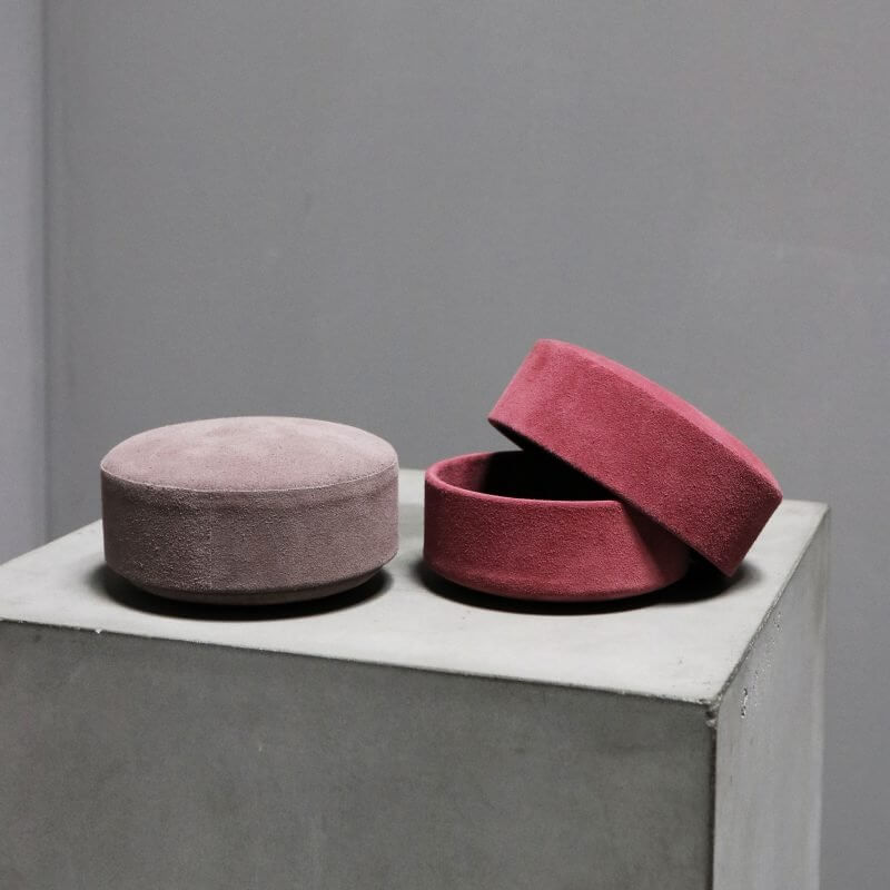 box pastille made with surface of suede red and powder color by dutch designer Michael Verheyden