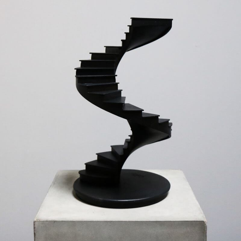 model of staircase in burnt wood for interior design