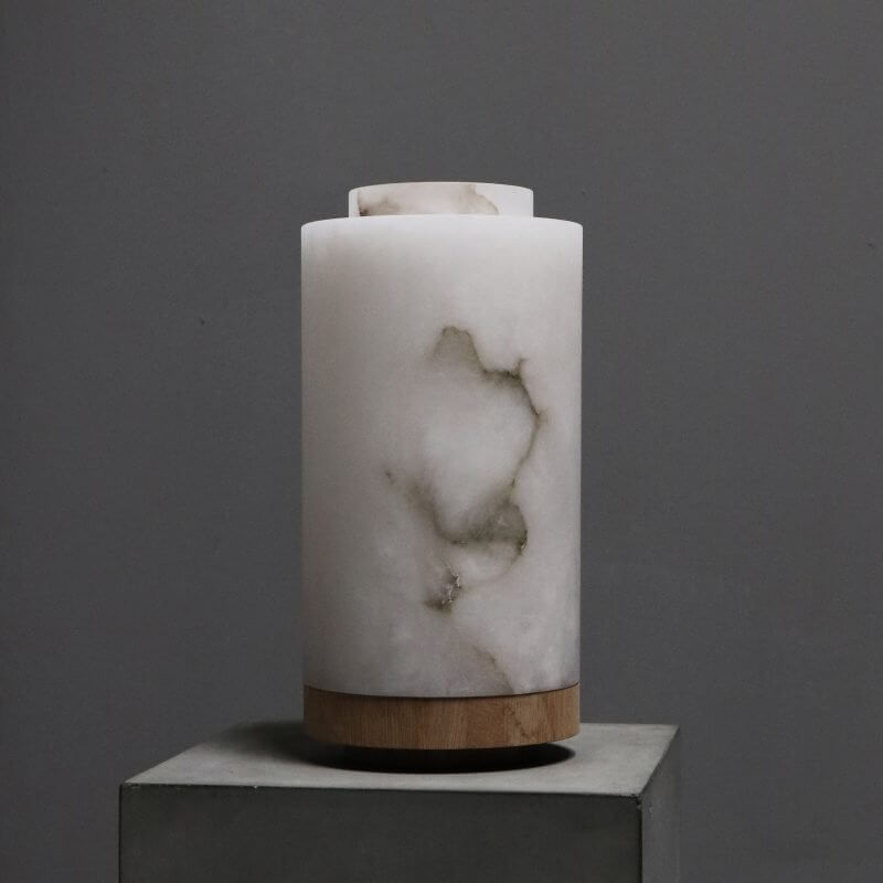 Unique lamp in alabaster marble with wood stand by dutch designer michael verheyden
