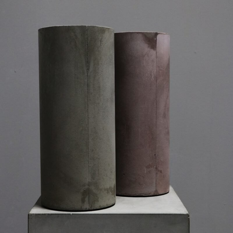 cylindrical vase in concrete in tan and grey by dutch designer michael verheyden