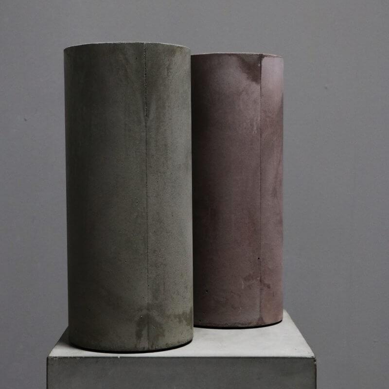 cylindrical vase in concrete in tan and grey by dutch designer michael verheyden