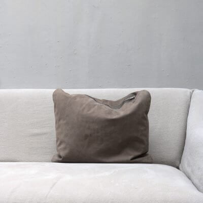 pillow in dark suede with zipper in small from Journey by Oliver Gustav
