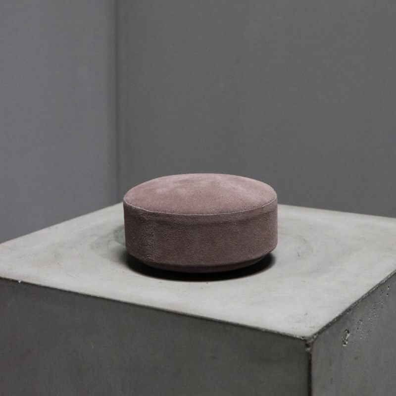 box pastille made with surface of suede red color by dutch designer Michael Verheyden