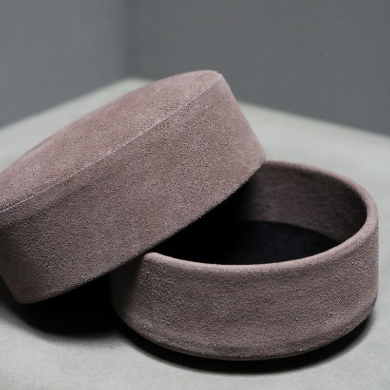 box pastille made with surface of suede powder color by dutch designer Michael Verheyden