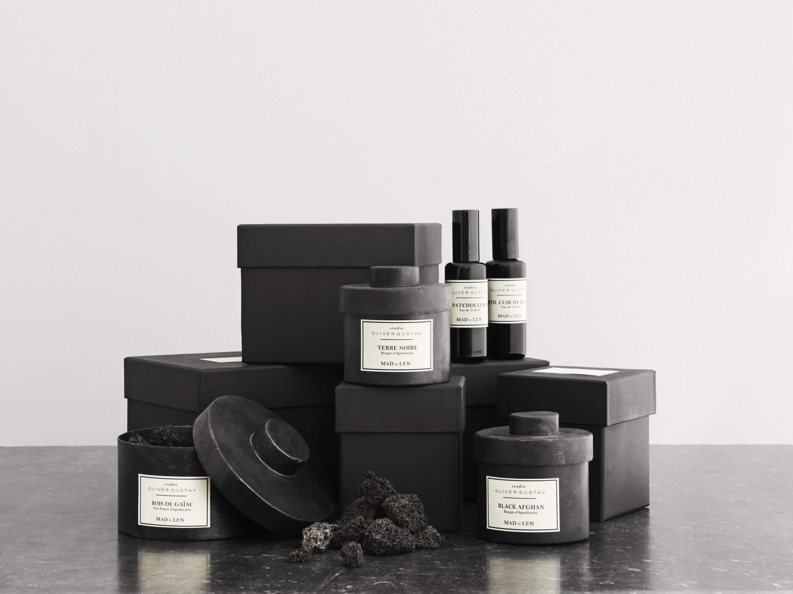 Mad et len scented candle, potpourri with lava stones and room spray
