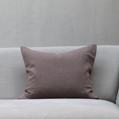 Dusty Cacao color linen pillow