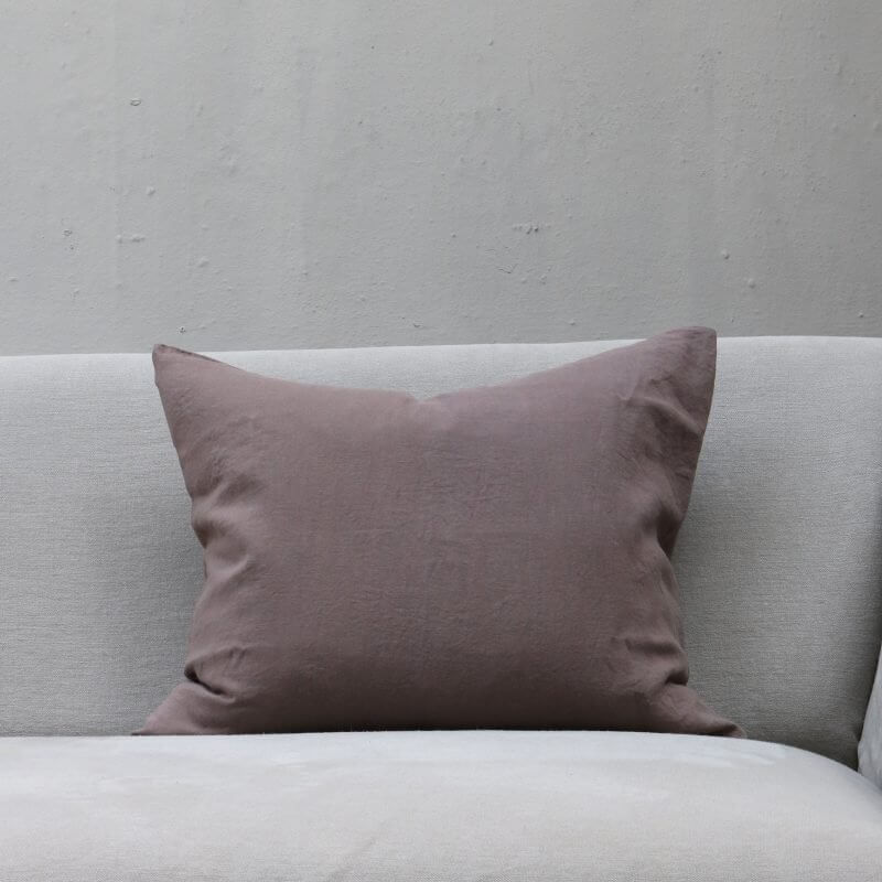 Cacao dusty brown pillow in linen by Society Limonta