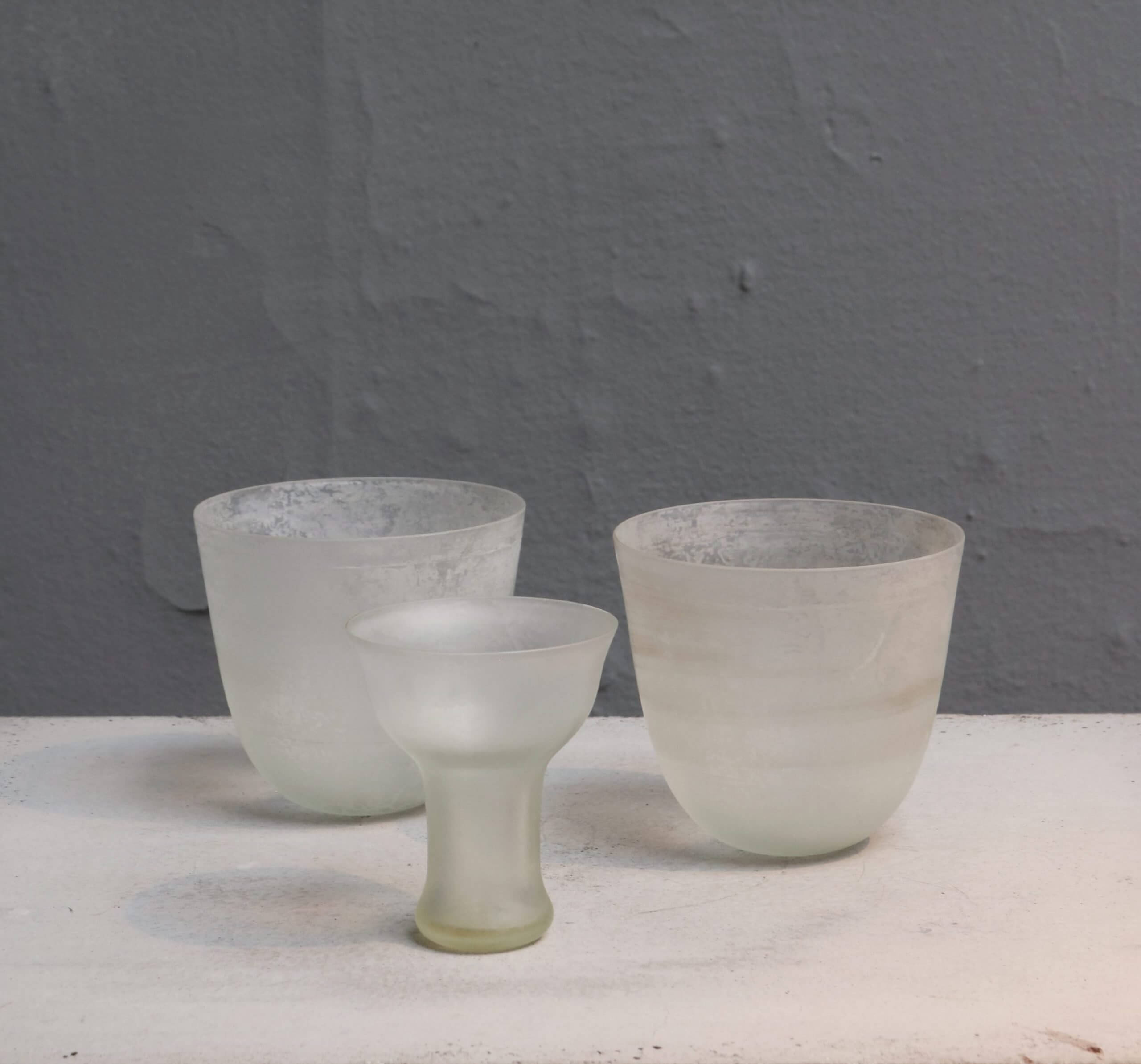 mouth blown glass goblet