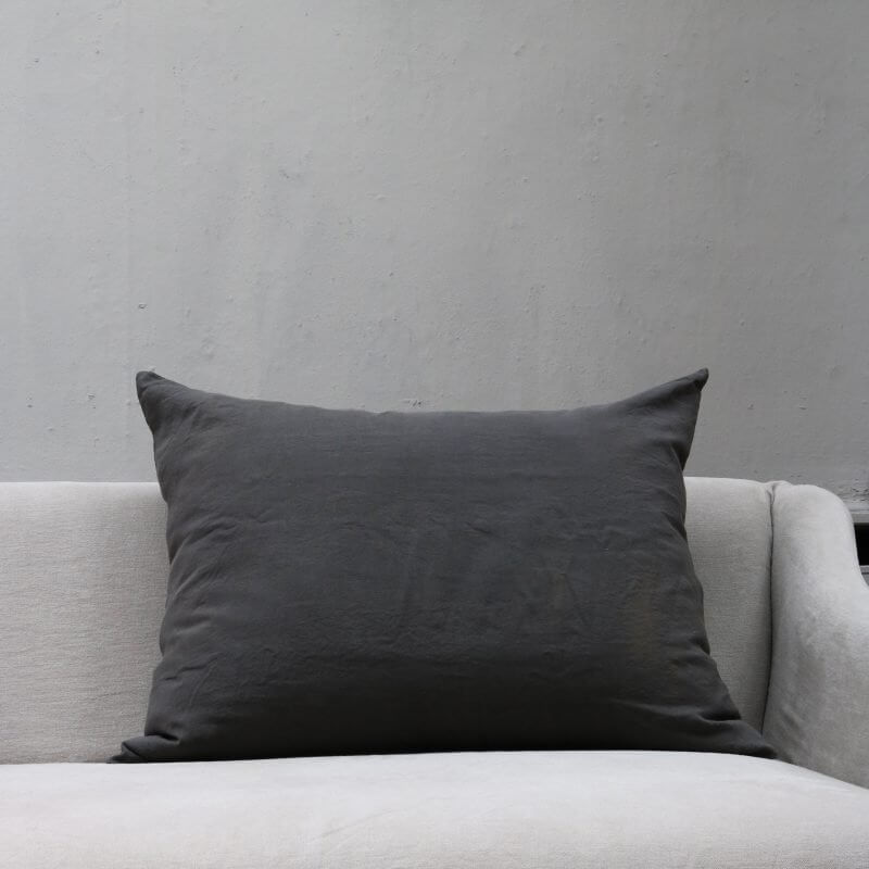 Dark grey Cushion pillow in high quality linen by Society Limonta
