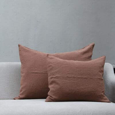 Brown orange colored Cushion pillow in high quality linen by Society Limonta