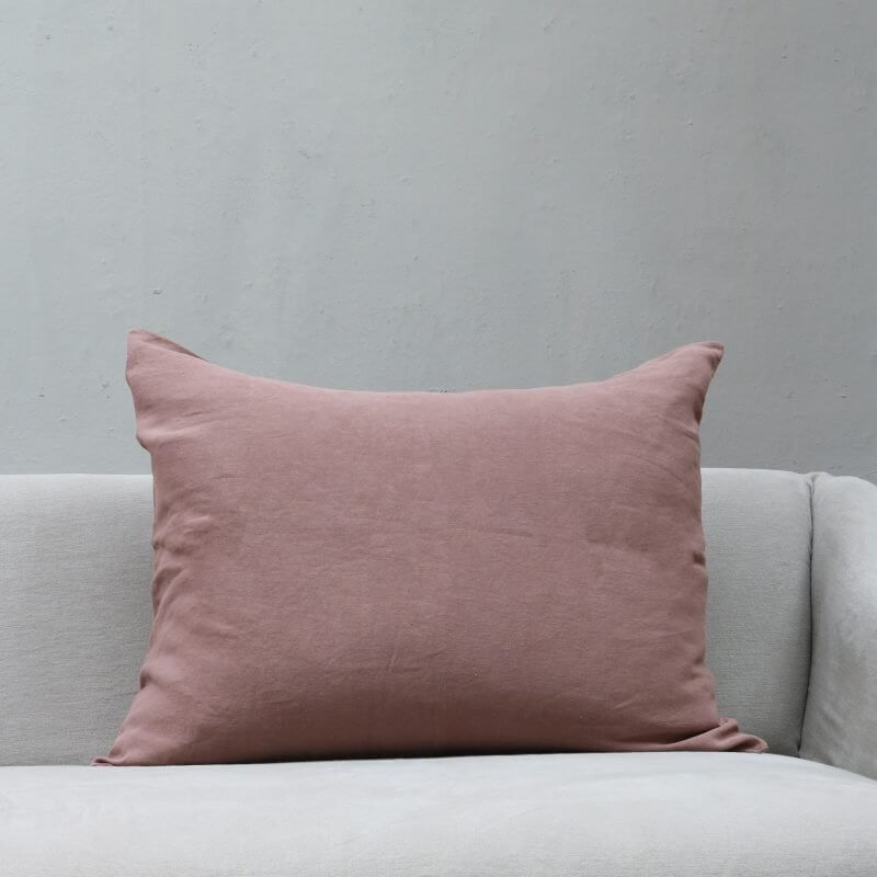 Light pink colored Cushion pillow in high quality linen by Society Limonta