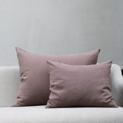 Dusty rose colored pillow in linen by Society Limonta