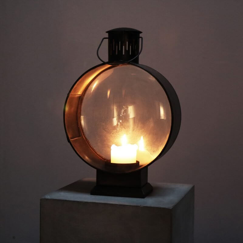 Metal lantern for candle light indoor or outdoor
