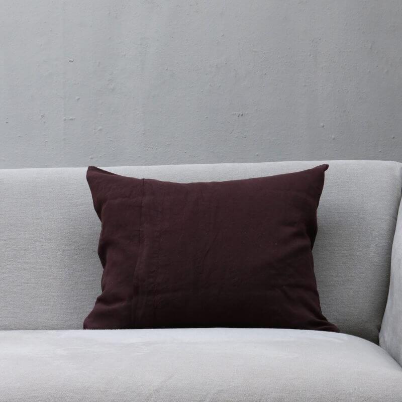 Plumb dark purple pillow in linen by Society Limonta