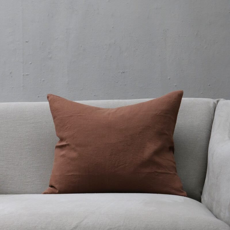 Sienna warm brown pillow in heavy linen by Society Limonta