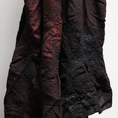 Unique blanket in burgundy red wool by biek verstrappen