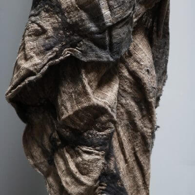 Unique Blanket in sand colored silk by Biek Verstrappen