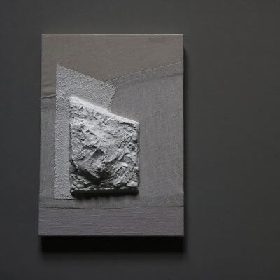 Unique wall art piece with plaster on canvas by danish artist Josefine Winding