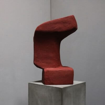Unique sculpture in plaster and red color by danish artist josefine winding