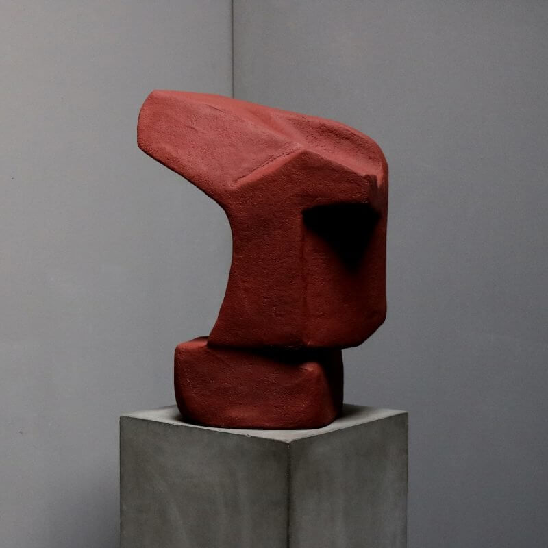 Unique sculpture in plaster in red color by danish artist Josefine Winding