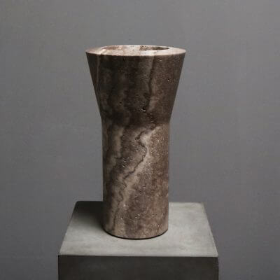 unique Y-vase vase in travertine by dutch designer Michael Verheyden