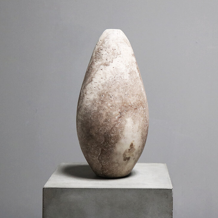 Unique Vase in travertine by dutch designer Michael Verheyden