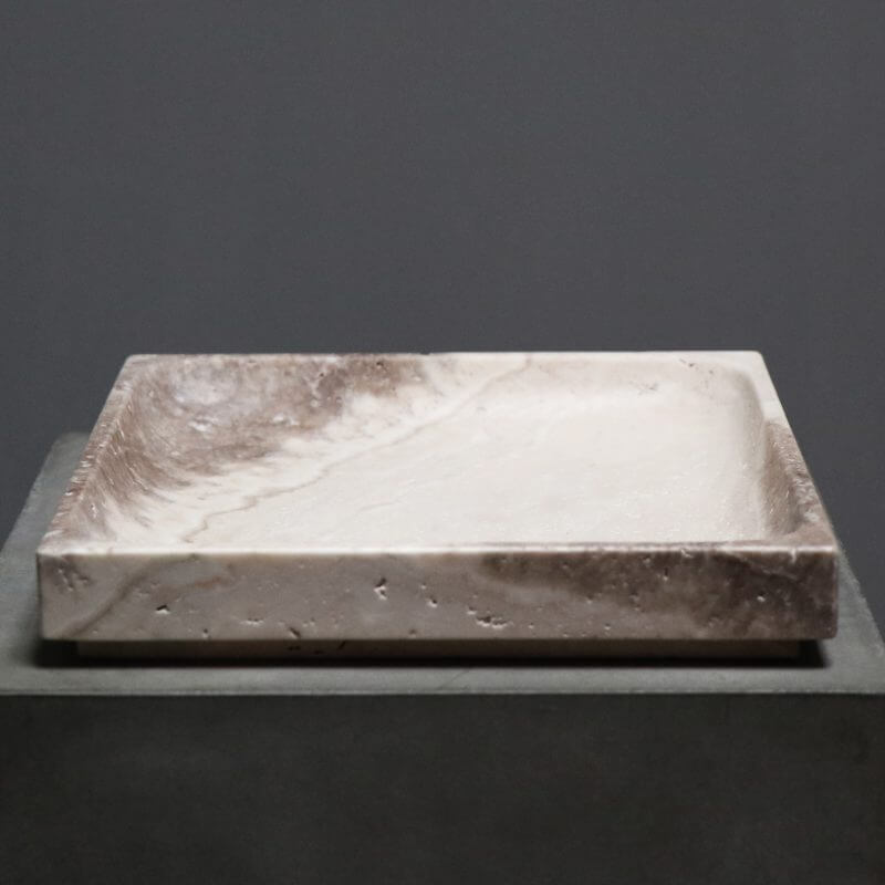 Unique tray in travertine by dutch designer michael verheyden