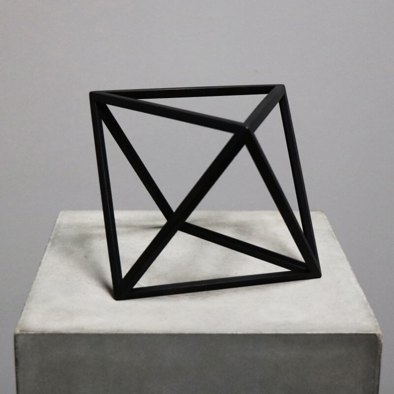 octahedron Beautiful geometrical model in burnt black wood