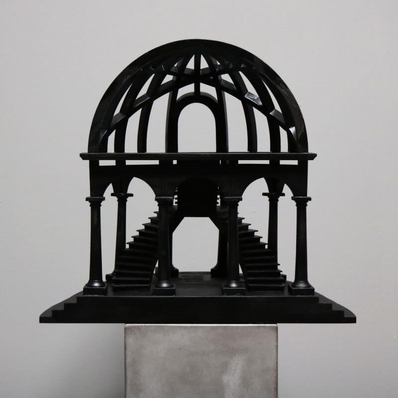 Wooden model of a dome in black