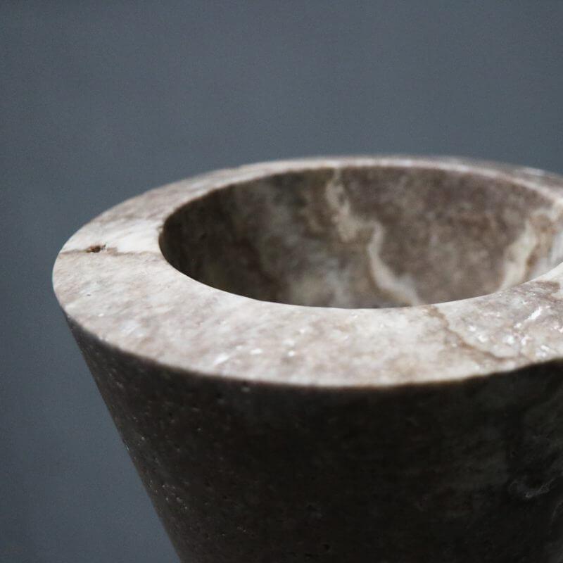unique Y-vase vase in travertine by dutch designer Michael Verheyden