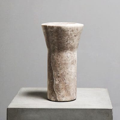 Y-Vase in Travertine by Michaël verheyden