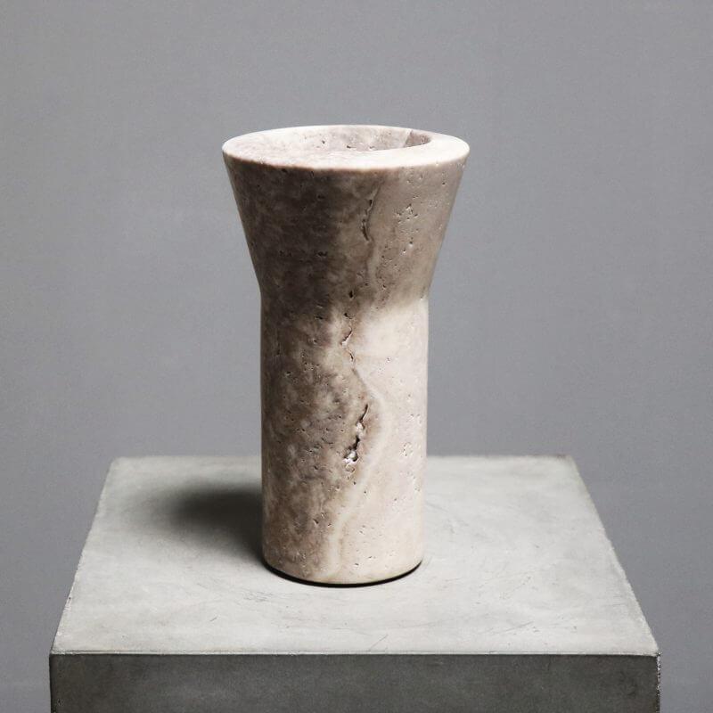 Unique vase in travertine by dutch designer michael verheyden