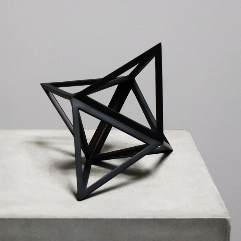 ELEVATED TETRAHEDRON Beautiful geometrical model in burnt black wood for interior design decoration
