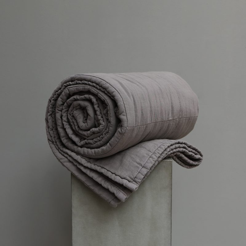 Quilted blanket high quality linen by Society Limonta at Studio Oliver Gustav. Bedroom interior design