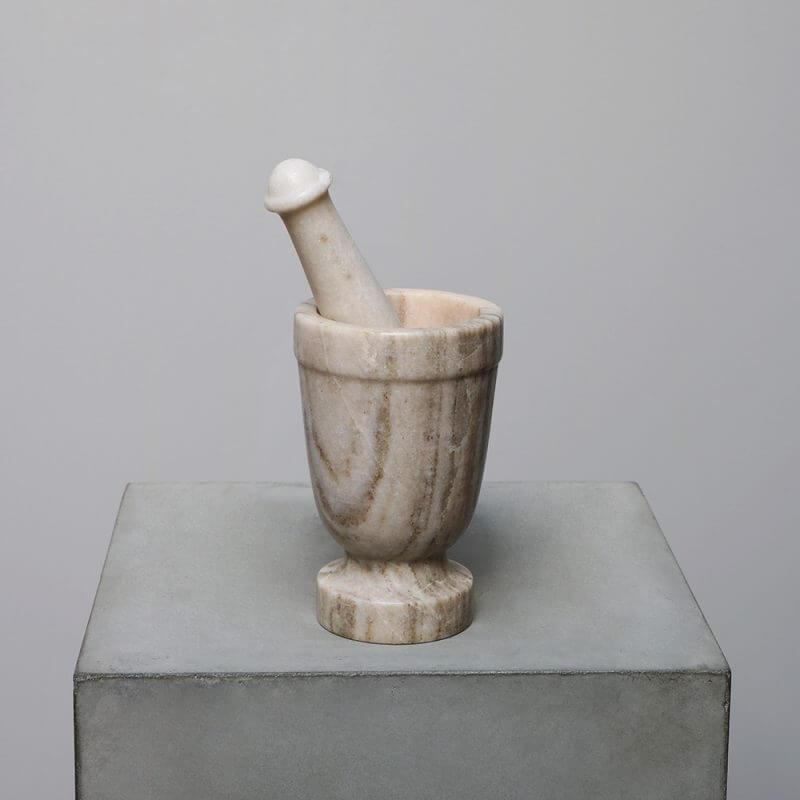 Marble Mortar and pestle grinder Studio Oliver Gustav