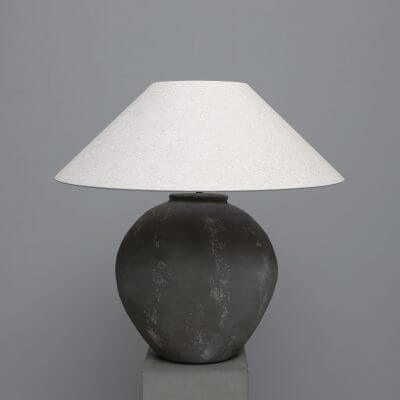 Large Terracotta lamp in grey with white lamp shade