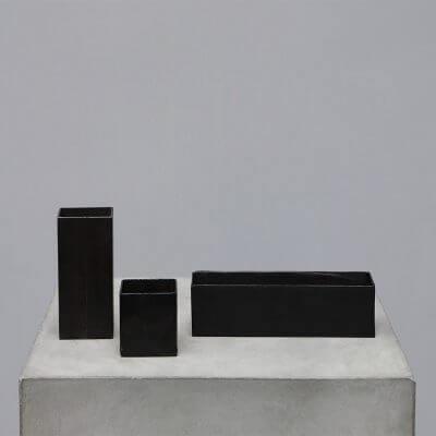 Minimalistic iron boxes. Home decor.